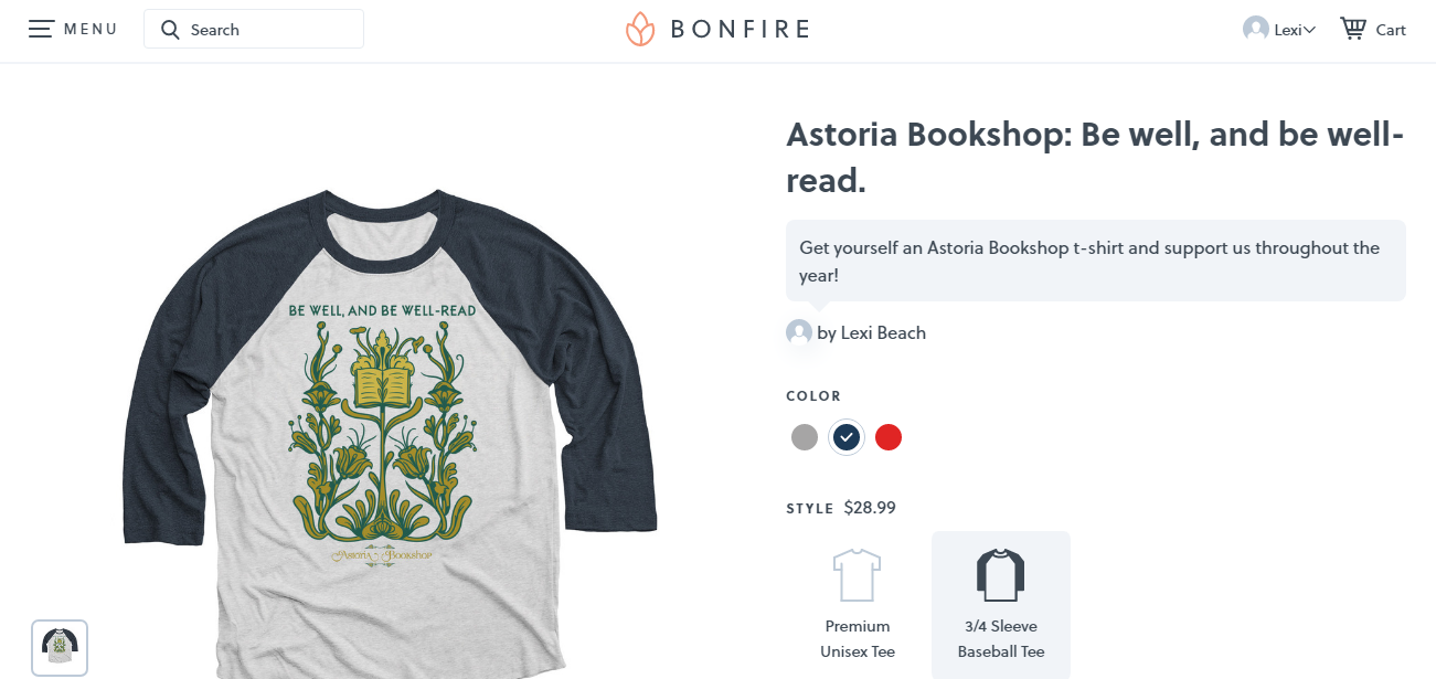 Be well, and be well-read: Astoria Bookshop t-shirts available on Bonfire